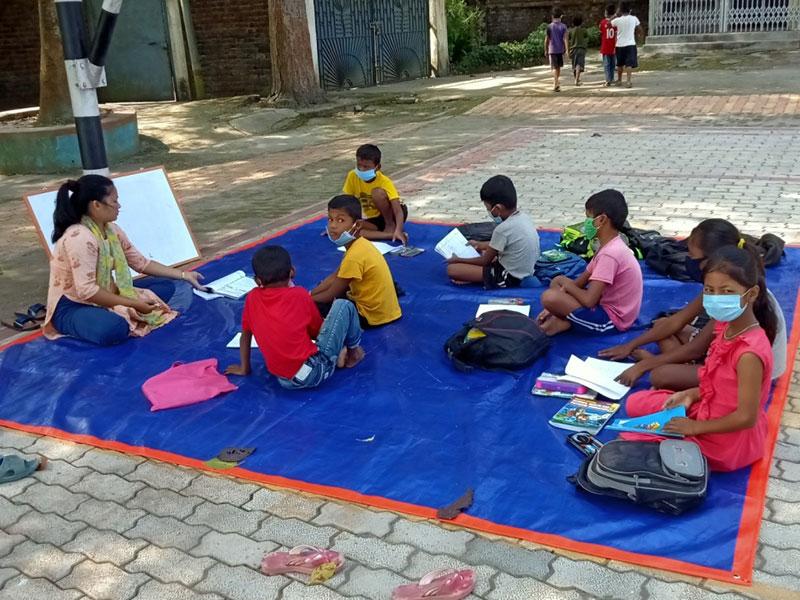 Mrs Rachana Rai teaches science to students from Naya Basti, Nepal. Source: Moran Memorial School