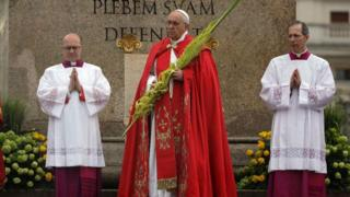 Pope Francis and the start of Palm Sunday. Source: twitter.com